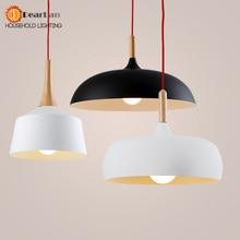 Современный подвесной светлое дерево и алюминия лампы черный / белый кафе столовая из светодиодов древесины бесплатная доставка