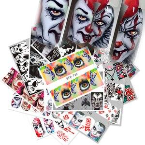 Image 3 - Full Beauty 1 Set Halloween Water Transfer Nail Art Sticker Skull Ghost Clown Pumpkin Manicure Nail Slider Decal Decor CHSTZ/A