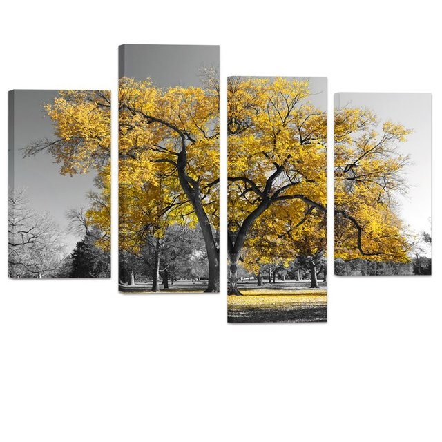Modern black and white canvas wall art giclee prints autumn landscape yellow tree wall decor art