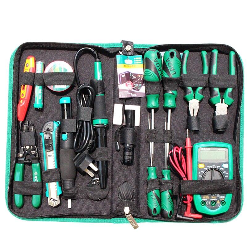 Laoa 16 pçs conjunto de ferramentas de manutenção eletrônica alicate ferro de solda pinças kit de ferramentas de reparo multímetro digital eletrônico - 4