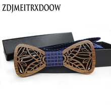 Фотография 2017 Hot Hollow Fashion Wood Bow ties with solid blue lattice pocket square For Mens Wooden bow tie gravata bowtie