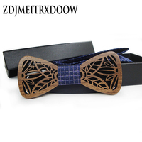 2017 Hot Hollow Madera Moda pajaritas con celosía azul cuadrados de bolsillo Para Hombre De Madera sólida pajarita gravata bowtie