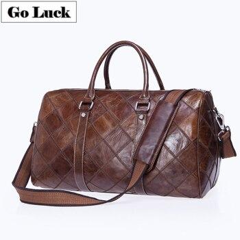 Brand New Plaid projekt prawdziwa skóra bydlęca podróży torba-worek Unisex torebka torba na ramię przepasana Messenger torby mężczyźni i kobiety
