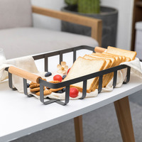 Nordic Style Iron Art Storage Basket Bathroom Shelves Fruits Organiser Black White Home Storage Organization