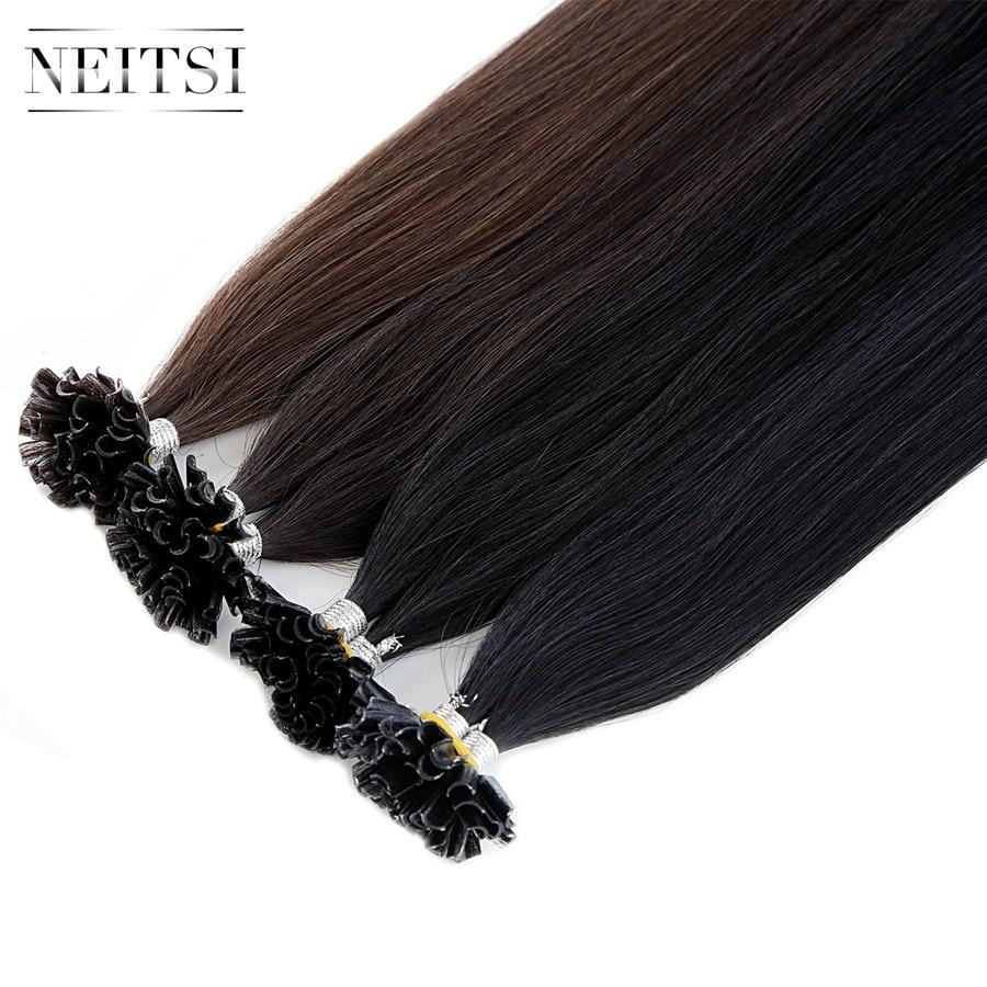 Neitsi Straight Braziliaanse Human Fusion Keratine Haarspijker U Tip - Mensenhaar (voor wit) - Foto 2