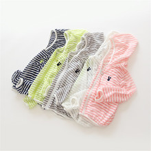 2019 Children's Boys Girls Striped Sunscreen Clothing Thin Zipper Hooded Air Conditioning Shirt Casual Jacket Kids Clothes Coat wholesale 300pcs lot 2017 spring g air conditioning sunscreen back letter jacket for child girl