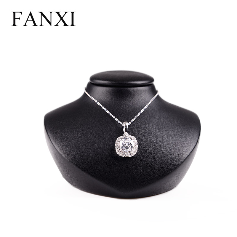 купить FANXI High Quality PU Leather Mannequin Jewelry Display Stand Necklace Pendant Bust Stand jewelry organizer Showcase онлайн