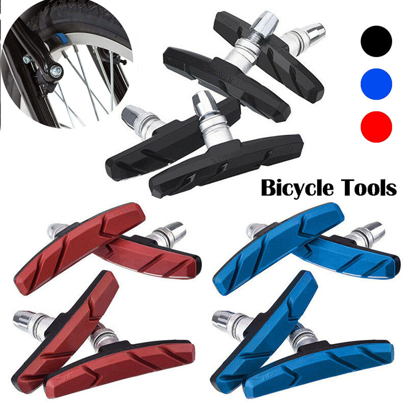 Stainless Steel V-Brake Holder Shoes Rubber Blocks Durable Cycling Accessories One Pair Mountain Road Bike Brake Pads Braking