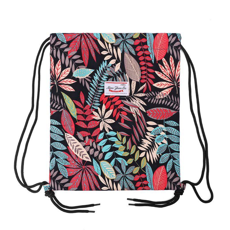 Drawstring Bag Floral Leaf Rucksacks Cinch Sack Gym Sackpack Book Bags For Hiking Yoga Gym Swimming Travel Beach