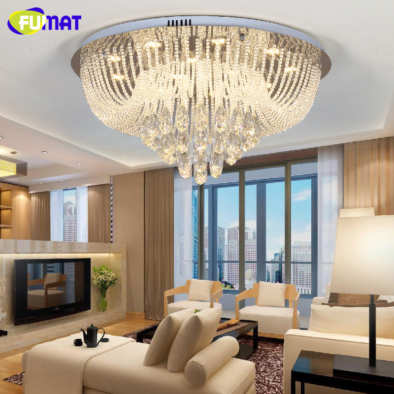 US $316.75 30% OFF|FUMAT Moderne Kronleuchter Decke Indoor Lichterkette K9  Kristall Beleuchtung Wohnzimmer Schlafzimmer Metall Glanz cristal ...