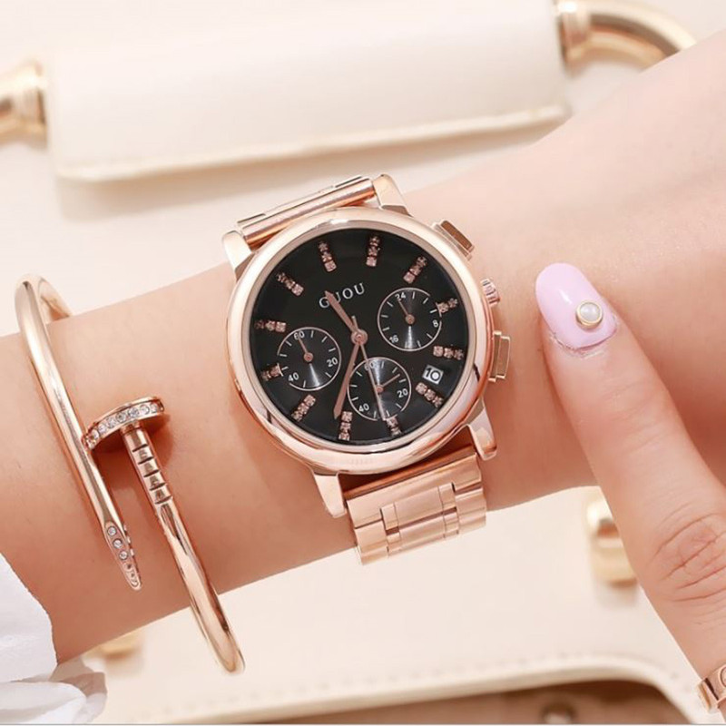 Women's Watches GUOU Fashion Ladies Wrist Watches Bracelet Luxury Watch Women Rose Gold Reloj Mujer Full Steel Saat