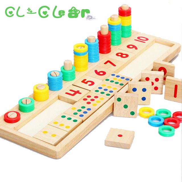 Montessori Rainbow Rings Dominos Children Preschool Teaching Aids Counting and Stacking Board Wooden Math Toy