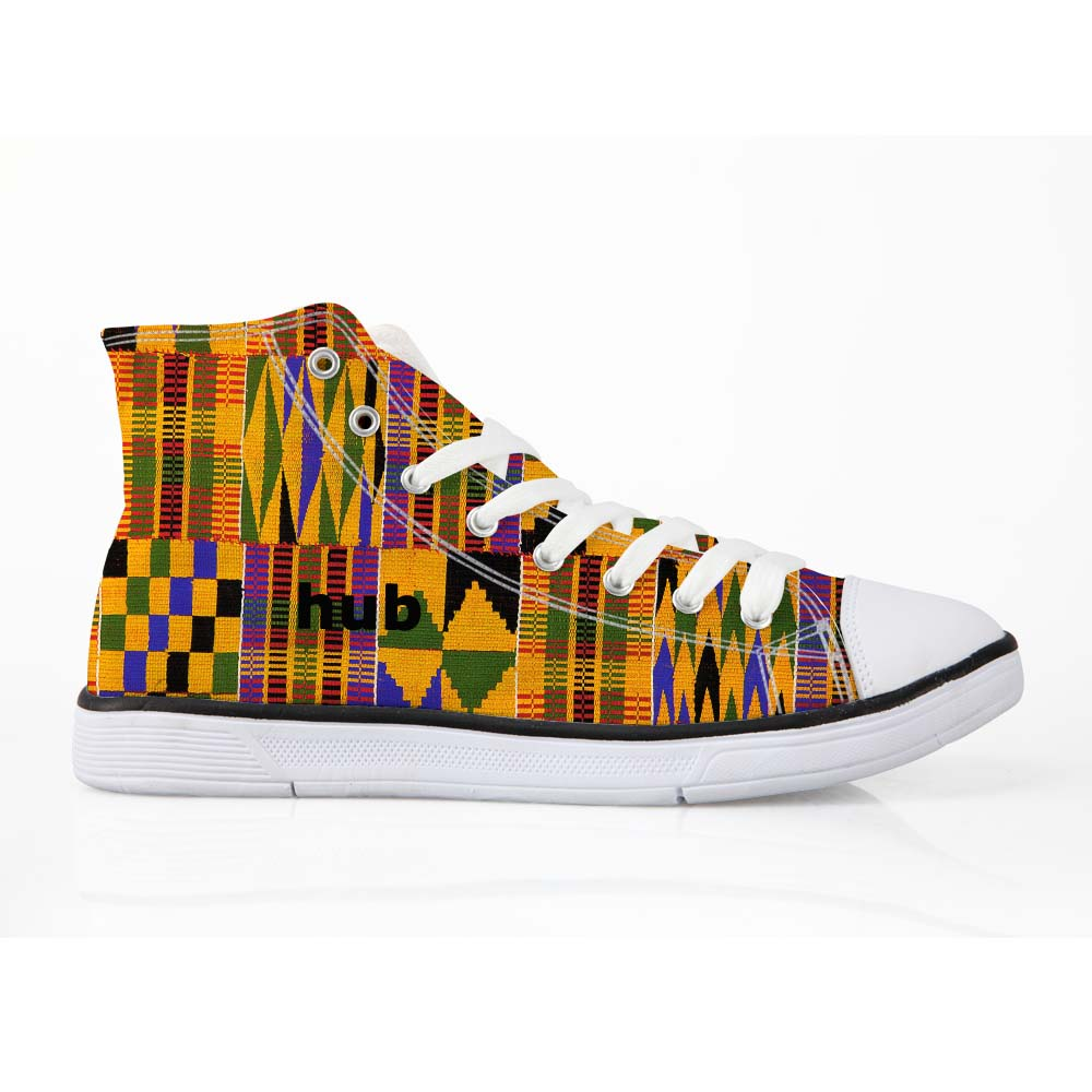 ELVISWORDS Cool Dashiki African Style Men's High Top Canvas Shoes Lace up Flats Autumn New Fashion Vulcanize Shoes Size 35 45