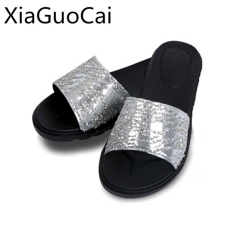 Brand Summer Women Slippers Outdoor Beach Slides Footwear for Ladies Bling Design Fashion Female Beach Shoes Slippers