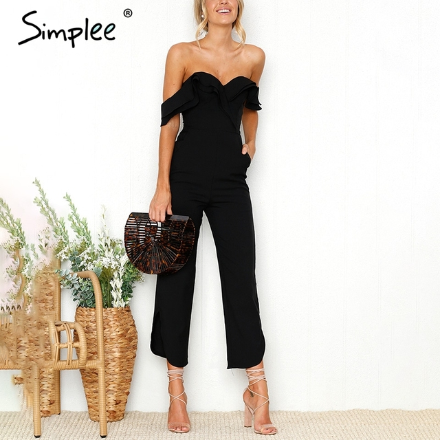 f85b15f74831 Simplee Sexy off shoulder backless black jumpsuit women Tiered ruffle high  waist jumpsuit romper Pocket casual