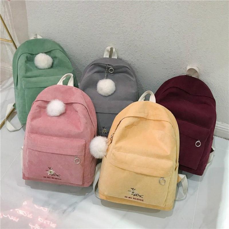 hot Women backpack female corduroy Backpack School Bag For Girls Rucksack Female teenager Travel Backpack lady Bookbag Mochila