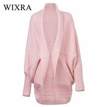 Wixra Warm and Charm Autumn and Winter Women's Top Medium-long Cardigan Outerwear Sweater Batwing Sleeve V neck Cardigans Jacket