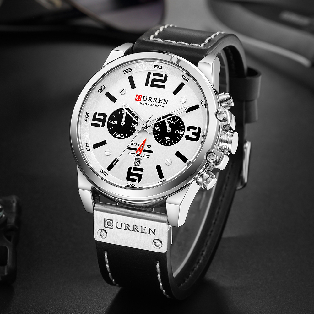 Image 5 - CURREN Top Luxury Brand Men's Military Waterproof Leather Sport Quartz Watches Chronograph Date Fashion Casual Men's Clock 8314-in Quartz Watches from Watches