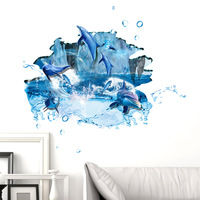 Fundecor Jump Dolphin 3D Wall Stickers Home Decor Living Room Bathroom Bedroom Kitchen Children Room
