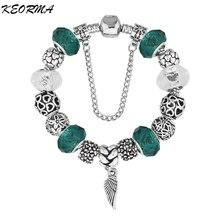 New European Silver Plated Bead Charm Bracelet Beads Fit Women Bracelets & Bangles Jewelry Free Shipping