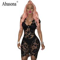Abasona Women Sexy Dress Sleeveless V Neck Hollow Out Black Lace Dress See Through Sexy Ladies