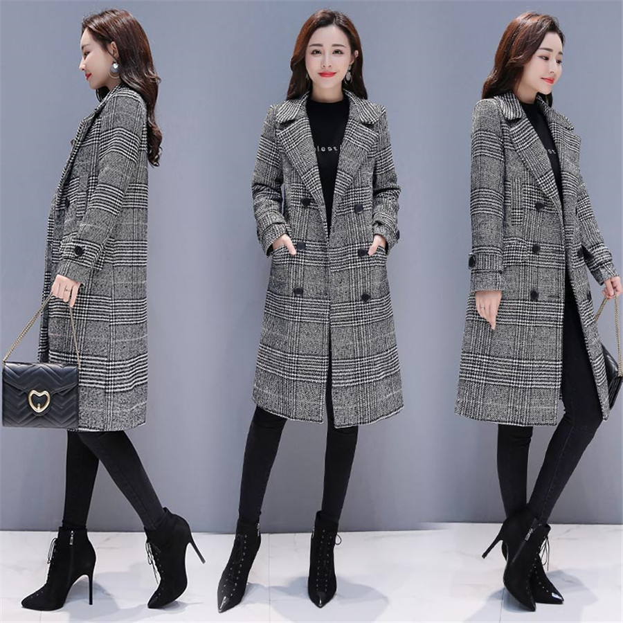 Image 5 - Hodisytian Winter Women Wool Blends Plaid Trench Coat Elegant  Outerwear Casual Loose Thick Cardigan Female Cashmere OvercoatWool