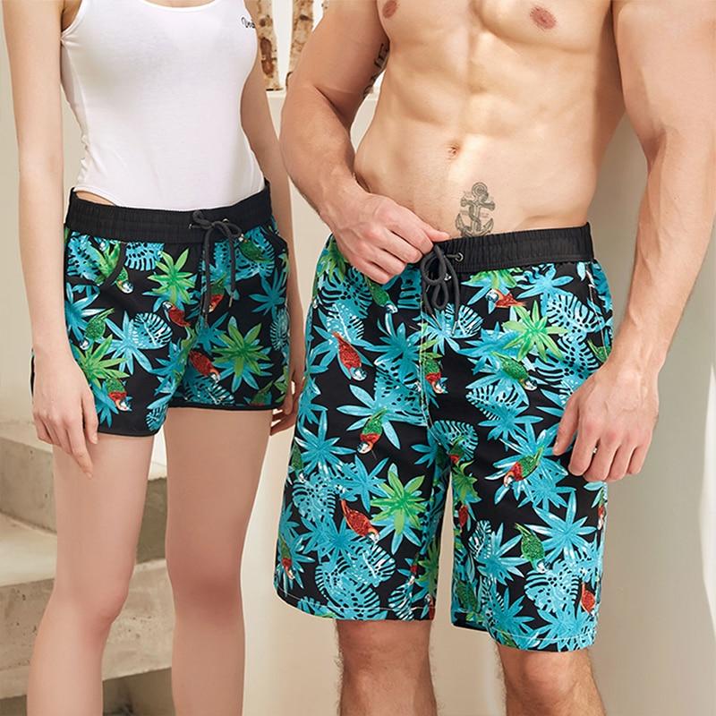 Couple Swimwear Board Shorts Women & Men Boardshorts Bermuda Surf Swimming Shorts Swim Trunks Beach Sports Suit Quick