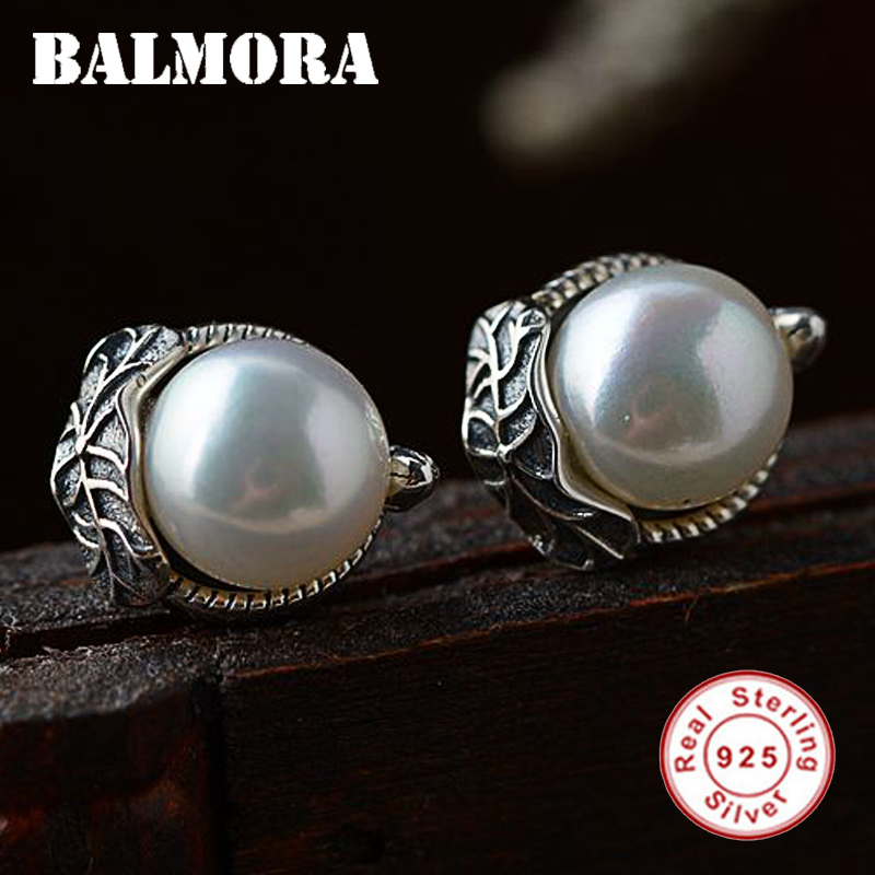 BALMORA 925 Sterling Silver Simulated-Pearl Leaves Stud Earrings for Women Party Silver Earrings Vintage Jewelry Brincos SY31365