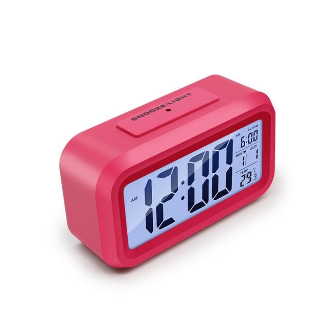 מעורר דיגיטלי שעון זמן נתונים LCD תצוגת פונקציה נודניק אלקטרוני תאורה אחורית חיישן מנורת לילה משרד שולחן תלמיד ילדי שעון 3