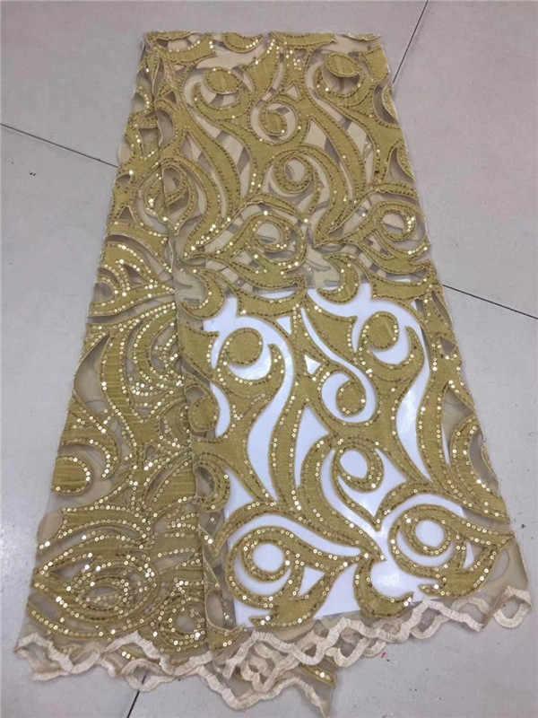 2019 africano de alta qualidade seqüência veludo francês nigeriano lantejoulas net tule malha tecido renda suíço para vestido 5 jardas/lote ouro