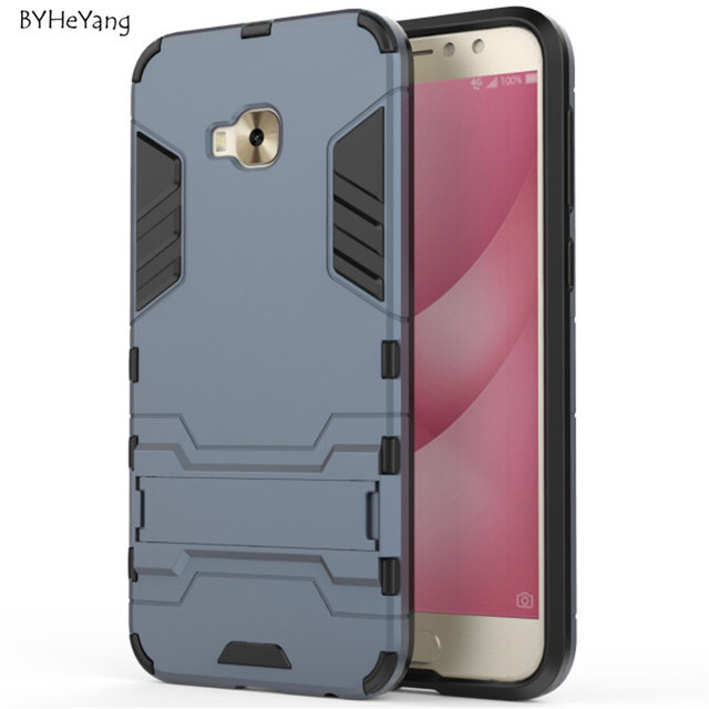 reputable site adff6 19d11 US $3.8 |BYHeYang For Asus Zenfone 4 Selfie Pro ZD552KL Back Cover Armor  Dual Phone Cases With Kickstand For Zenfone 4 Selfie Pro ZD552KL-in Fitted  ...