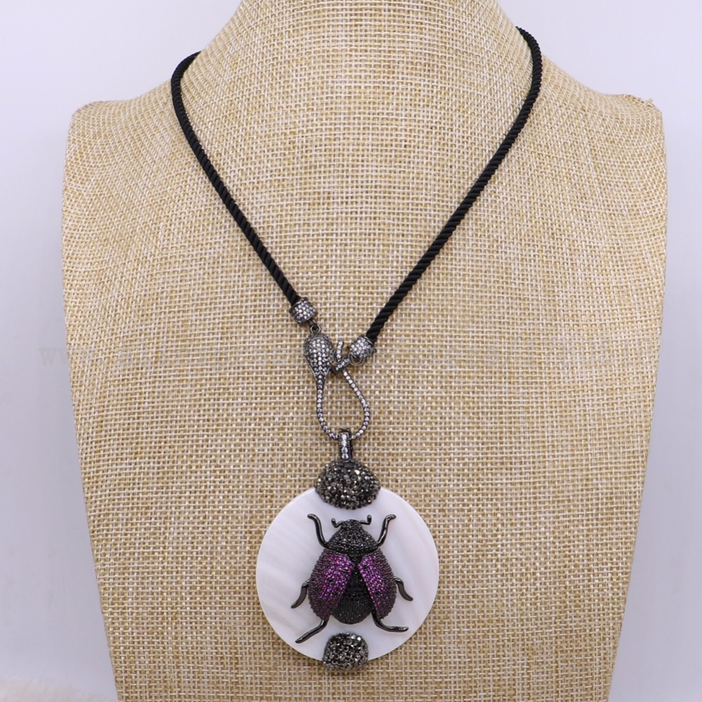 3 strands bug beads with shell stone necklace black chain with zircon fashion jewelry pendants 2897