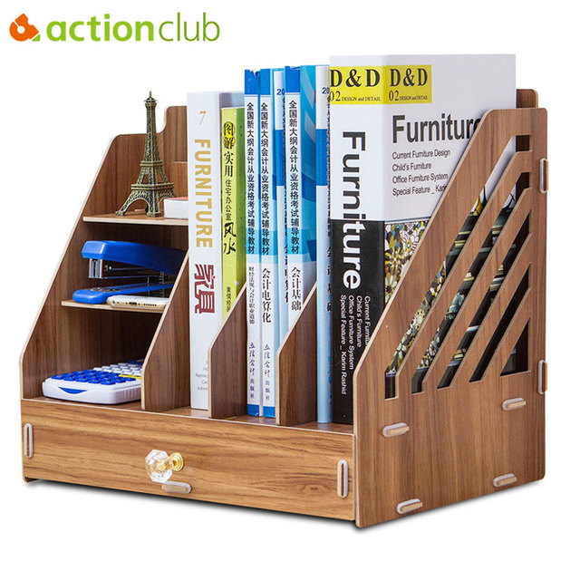 Actionclub Office Desktop Storage Box File Information Data Books Magazine Documents Organizer Case Wooden Drawer Bookshelf
