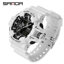 SANDA กีฬาผู้ชายนาฬิกาข้อมือ LED ดิจิตอลทหารทหาร Quartz นาฬิกาผู้ชายกันน้ำ G สไตล์นาฬิกาข้อมือ relogio masculino นาฬิกา