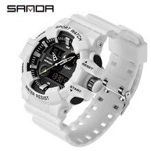 SANDA sportowe męskie zegarki luksusowe LED cyfrowy wojskowy zegarek kwarcowy mężczyźni wodoodporny G styl zegarki na rękę relogio masculino zegar