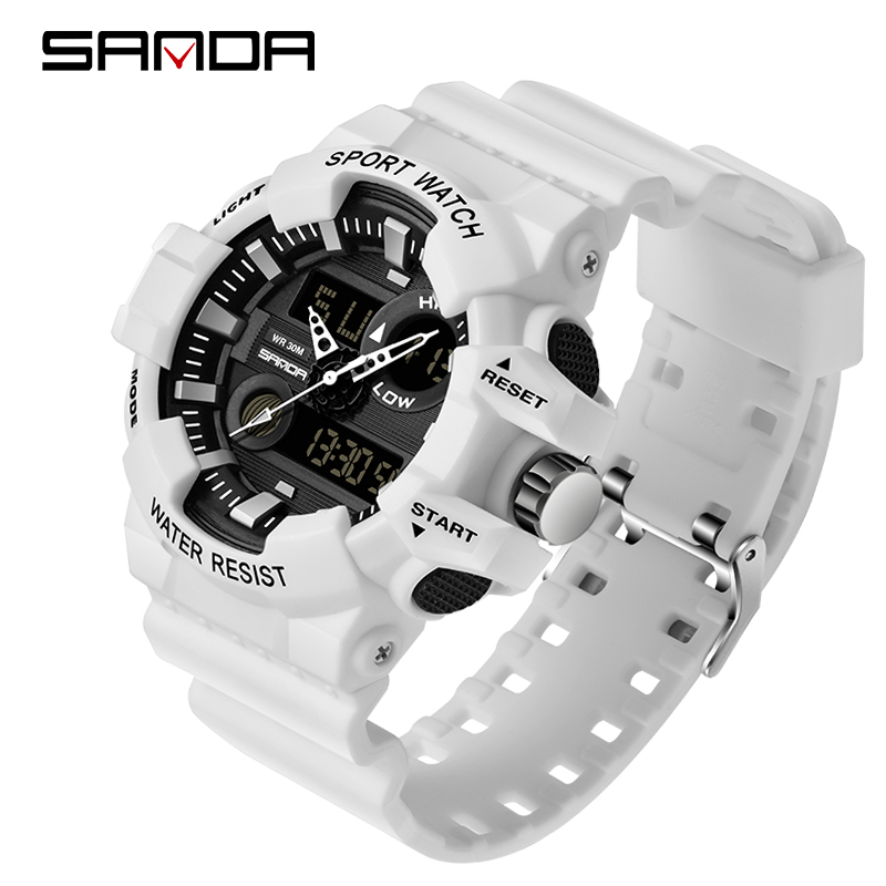Sanda esportes relógios masculinos de luxo led digital militar relógio de quartzo masculino à prova dwaterproof água g estilo relógios pulso relogio masculino