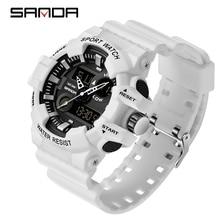 Sanda relógio militar led masculino, relógios esportivos de luxo, quartzo e digital, impermeável, estilo g, relógios de pulso