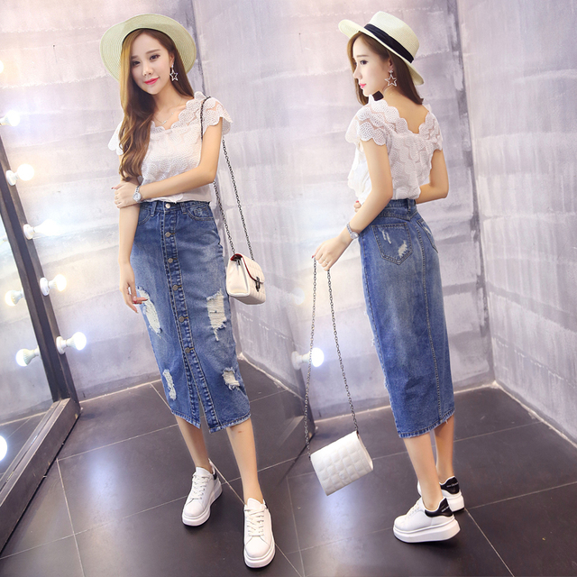 New Fashion Denim Skirts Women Ripped Midi Long Jeans Skirt High Waist Pockets Split Distressed Pencil Skirt Blue