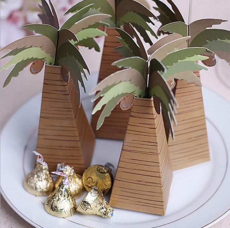 Wholesale 200pcslot Coconut Palm Tree Wedding Candy Box