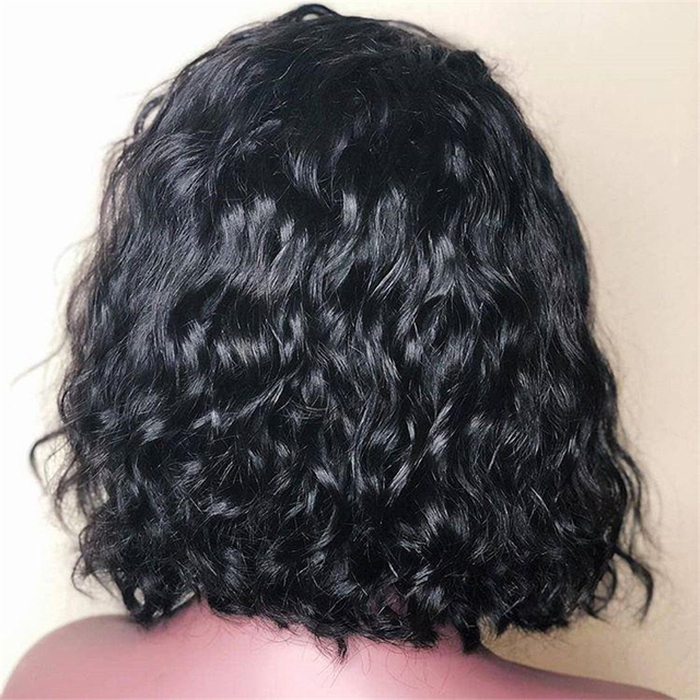 13*4 Lace Front Wig Water Wave Bob Wig Short Lace Front Human Hair Wigs Pre-plucked with Baby Hair Peruvian Remy Hair Hot Beaut 1
