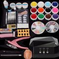 Professional Nail Dryer Lamp Machine + 12 Color UV Gel Polish Nail Art Tips Glue Brush Kit Set DIY Manicure Tools For BeautyNail