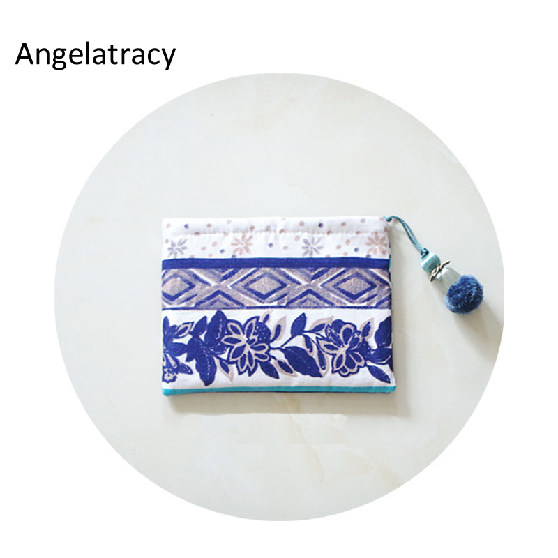 Angelatracy National Wallet Women Blue White Simple Women Coin Purse with Tassel Chinese Style Girl Purse New carteira feminina