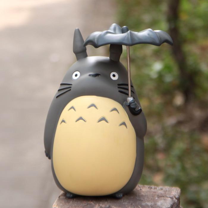 где купить 21CM Big Size Miyazaki Anime My Neighbor Totoro Umbrella Coin Bank Piggy Bank Money Saving Box Money box Figure Collection дешево