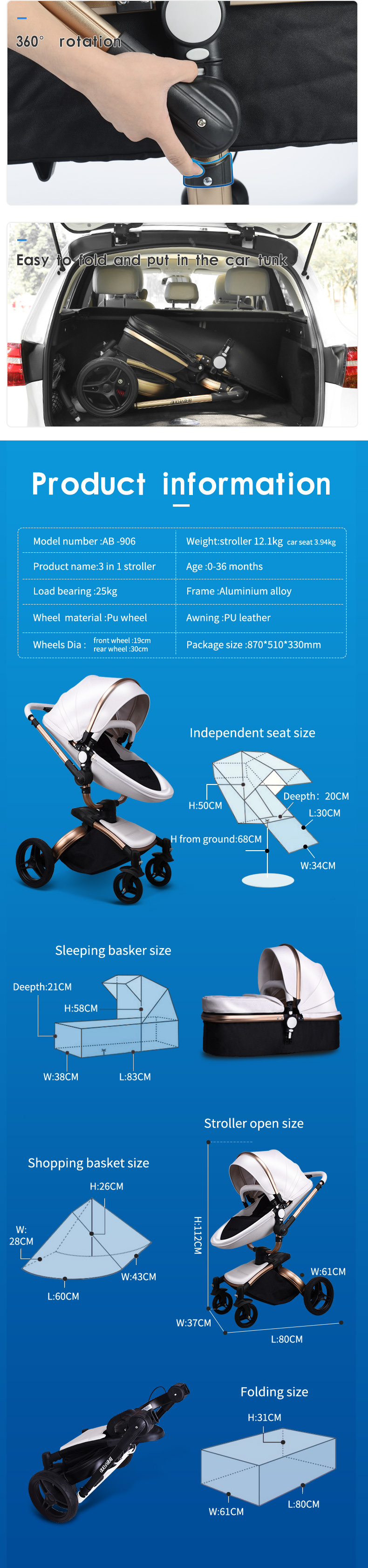 Fast shipping ! baby stroller folding two-way push luxury high landscape 3 in 1 baby carriage with car seat 6 pcs free gifts