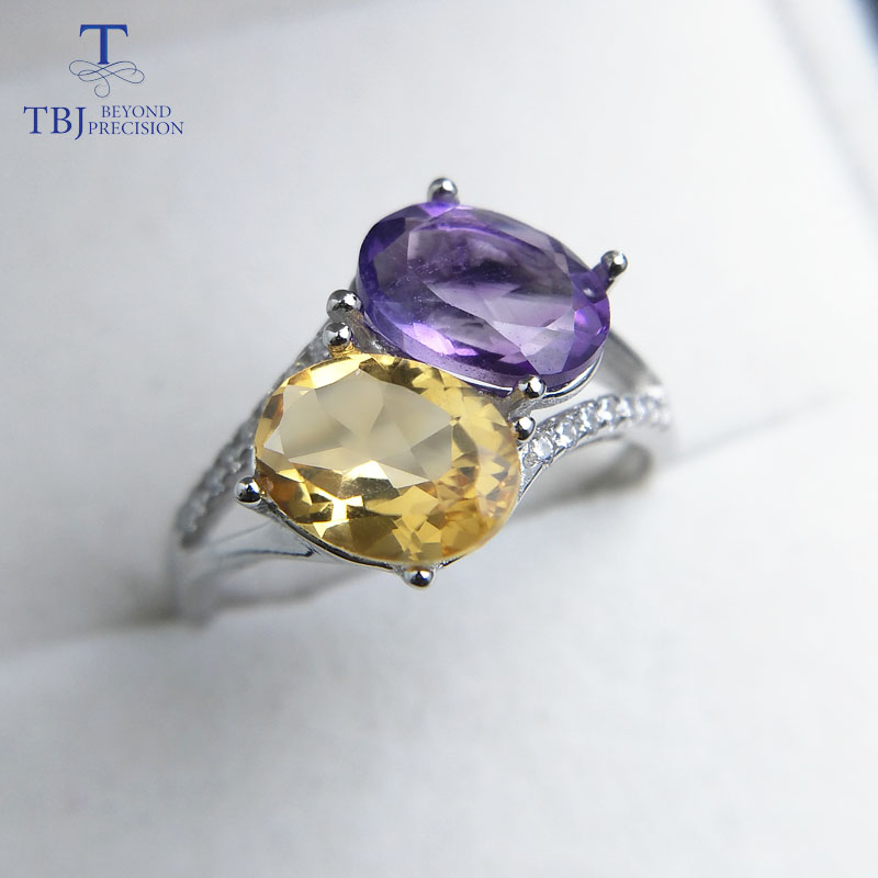 TBJ, natural brazil citrine and amethyst oval cut 6*8mm gemstone ring in 925 sterling silver fine jewelry for lady with gift box