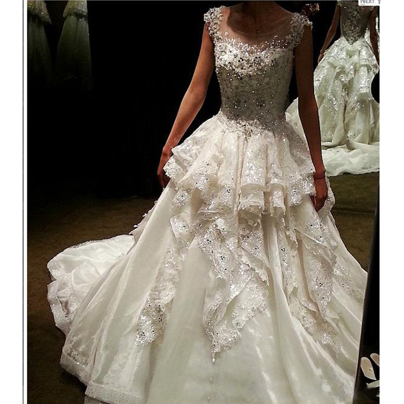 Rivini Lace Tiered Wedding Gown: So Luxurious !! Lace Tiered Wedding Dresses Beaded Bridal