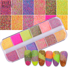 Full Beauty Holographic Candy Sugar Mixed Colorful Nail Pigment Powder DIY Sandy Charming Nail Glitter Dust 12 grids/case CHSU