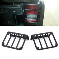 Universial Pair Metal Black Rear Tail Light Guard Cover Protector For 2007 2017 Jeep Wrangler High