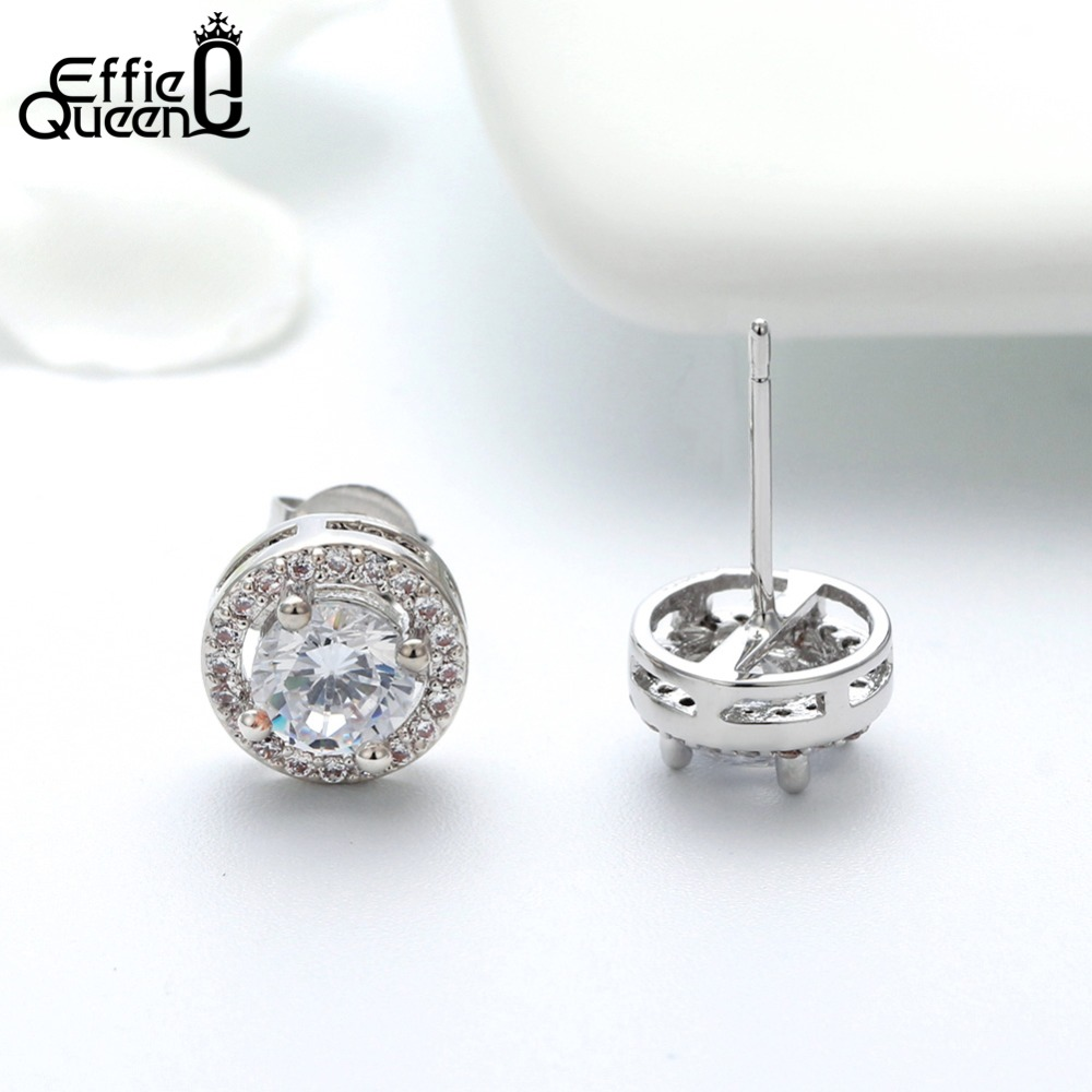 Effie Queen Women Örhängen 0.75ct CZ Zircon Crystal Stud med Runda - Märkessmycken - Foto 3