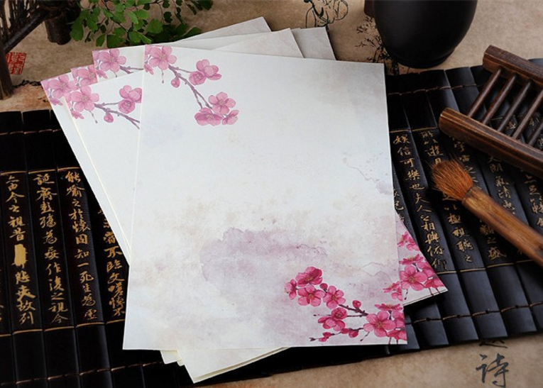 8Pcs/set Beauty 18.5*26.5cm vintage Pink Peach Flower letter paper stationery writing paper letter school office supplies